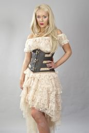 c-lock underbust steampunk corset in brown and cream matte