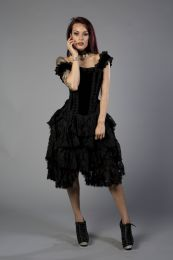 Sophia knee length burlesque corset dress in black king brocade