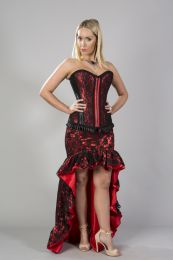 Helena skirt in red satin black lace overlay