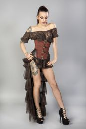 Warrior underbust steel boned corset in brass taffeta with brown matte hip panels