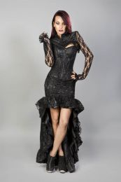Glamour overbust fashion corset in black satin and black lace overlay