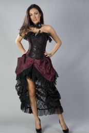 Elizabeth vintage corset dress in burgundy taffeta