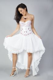 Acacia overbust corset in white satin hand embroidered pink gemstone