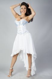Acacia overbust corset in white satin hand embroidered turquoise gemstone