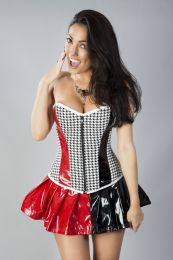 Glamour overbust zip up corset black and white hounds-tooth with blk and red PVC panels