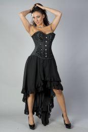Acacia overbust corset in black taffeta hand embroidered turquoise gemstone