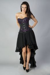 Acacia overbust corset in black taffeta hand embroidered purple gemstone