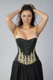 Acacia overbust corset in cream taffeta hand embroidered black gemstone