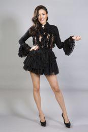 Dita long sleeve black lace victorian bolero shrug