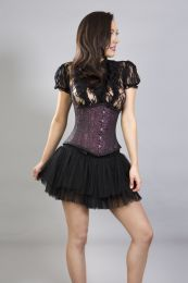 Candy underbust steel boned waist training corset in magenta brocade