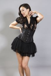 Candy underbust waist cincher in black satin and lace overlay