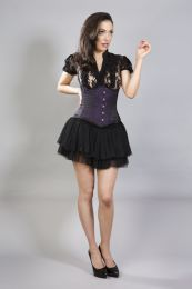 Candy steel boned underbust corset in purple brocade