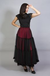 Rara long victorian goth skirt red satin and black mesh overlay
