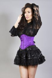 Lolita mini burlesque skirt in black satin