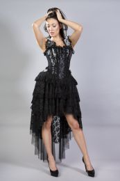 Ophelie burlesque corset dress in silver king brocade