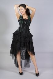 Ophelie burlesque corset dress in green scroll brocade