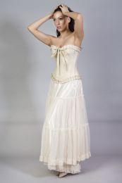 Rara long victorian skirt cream in cotton and cream mesh overlay