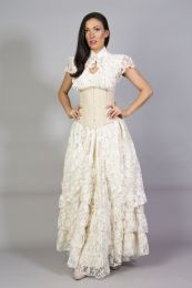 Victorian long gothic skirt in cream and cream lace overlay