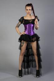 Candy underbust steel boned waist training corset in purple satin