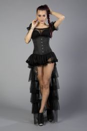 Candy underbust steel boned waist training corset in black brocade