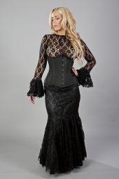 Panel long mermaid skirt in black satin and black lace overlay