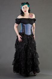 Victorian long gothic skirt in black cotton and black lace overlay