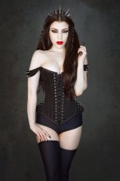 overbust corset with straps in black twill and silver spikes