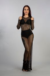 Adrianna long dress in black high quality fishnet . Perfect dress for a sexy night out .