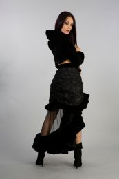 Agath hooded short bolero in black velvet flock with fine black fur detail . Gorgeous and simply stunning .