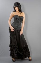 Alexandra long victorian skirt in black satin and black chiffon overlay