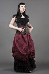 Alexandra victorian maxi skirt in burgundy taffeta