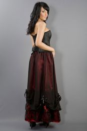 Alexandra long victorian skirt in red satin and black chiffon overlay