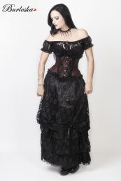 Alexandra Long Victorian Skirt, Black Satin with Black Lace Overlay