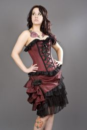 alice overbust burlesque corset in burgundy taffeta