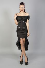 Candy underbust steel boned waist training corset in black taffeta.