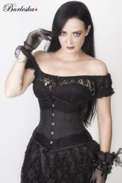 Amanda underbust steel boned corset in black taffeta with black lace details.