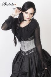 Amanda underbust steel boned corset in silver taffeta with black lace details