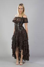 Amelia long burlesque skirt in cream lace