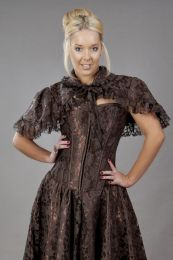 Amy burlesque bolero shrug in brown satin and lace overlay