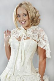 Amy ivory lace wedding bolero shrug