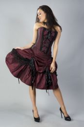 Angelina burgundy evening corset dress in taffeta