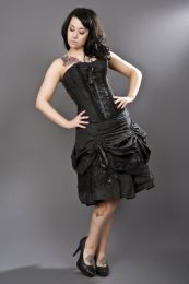 Angelina black evening corset dress in taffeta