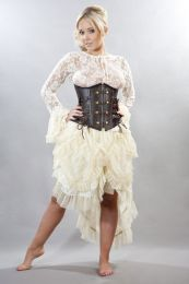 Angelina burlesque skirt in cream satin and cream lace overlay