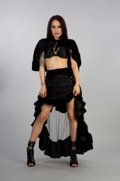 Annabelle gothic asymmetric skirt in black satin and lace overlay with mesh and flock details. Sexy and comfortable.