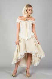 Athena overbust zip front corset in cream taffeta