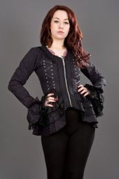 Attitude ladies gothic jacket in black and purple stripes