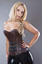Bernia steampunk overbust leather corset in brown and black napa leather