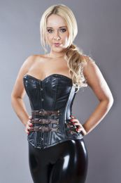 Bernia overbust steel boned corset in black and brown napa leather