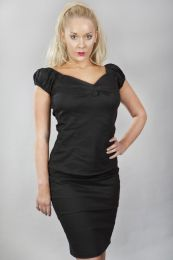 Betty v-neck women's top in black cotton