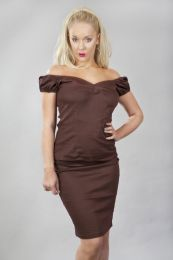 Betty v-neck ladies top in brown cotton